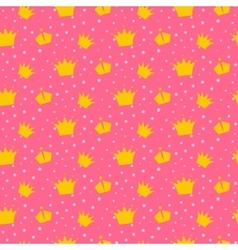 Girlish pink pattern with princess crowns vector