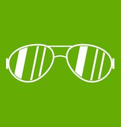 Glasses icon green vector