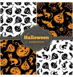 Halloween seamless patterns vector image