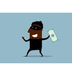 Happy thief with stolen dollar bill vector image