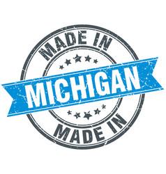 Made in michigan blue round vintage stamp vector