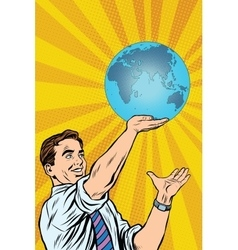 Man holding planet earth in hand vector