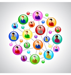 People networking concept with colorful circles vector image vector image