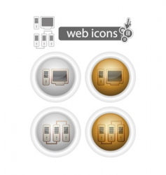 round web iconscomputer and network vector image