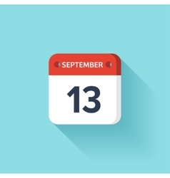September 13 Isometric Calendar Icon With Shadow vector image vector image