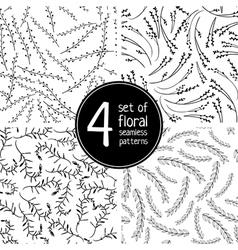 set of 4 floral black seamless patterns vector image
