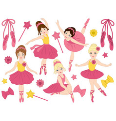 set of beautiful ballerinas dancing vector image vector image