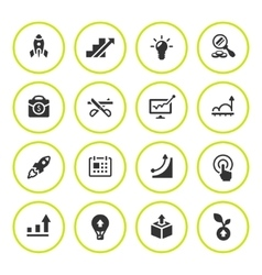 Set round icons of start-up vector