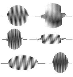 Set wavy oscillogram vector image