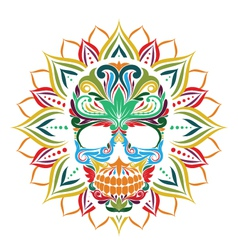 Skull and sun flower vector
