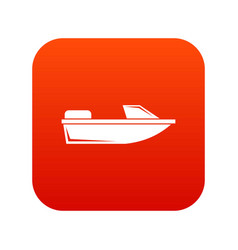 Sports powerboat icon digital red vector