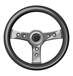 Steering wheel icon gray monochrome style vector