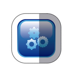Sticker blue square frame with pinions set icon vector