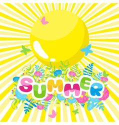 Summer background the inscription of colorful vector image