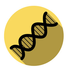 The dna sign flat black icon with flat vector