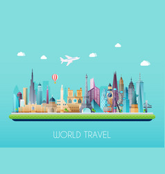 travel on the world concept tourism flat vector image vector image