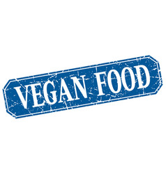 Vegan food blue square vintage grunge isolated vector
