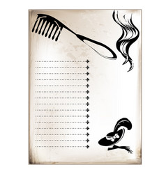Vintage card comb and curl vector