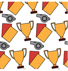 Whistle trophy and cards soccer sport pattern vector
