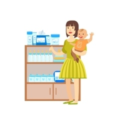 Woman With A Baby Shopping For Baby Food Shopping vector image vector image