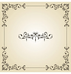 vintage floral frame and retro royal label vector image