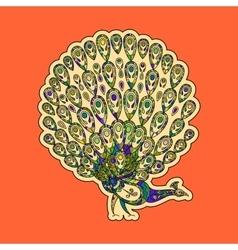 Colorful peacock sticker vector