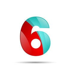 Number six 6 colorful 3d volume icon design for vector image