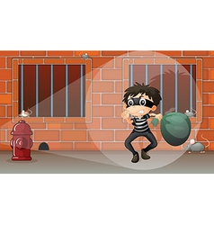 A thief at the jail vector