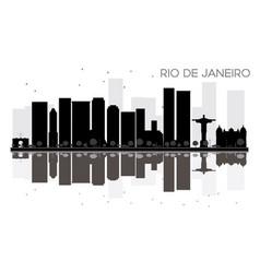 Rio de janeiro city skyline black and white vector