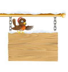 christmas santa hat bird on sign vector image