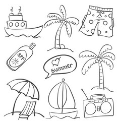 Collection of summer object set doodle style vector
