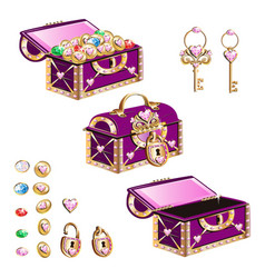 Treasure chest with pink jewelry vector