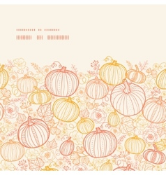 Thanksgiving line art pumkins horizontal frame vector