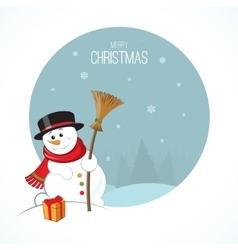 Christmas snowman on winter landscape background vector