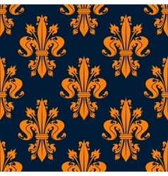 Blue and orange fleur-de-lis seamless pattern vector