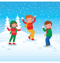 Group of children playing snowballs vector