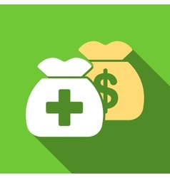 Health care funds flat long shadow square icon vector
