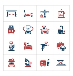 Set color icons of car service equipment vector