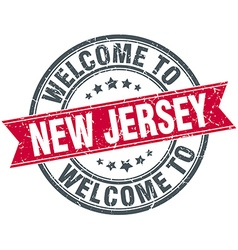 Welcome to new jersey red round vintage stamp vector