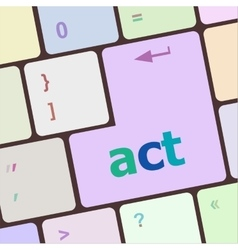 Act button on keyboard with soft focus vector