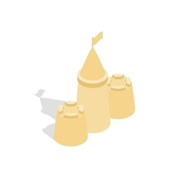 Sandcastle icon in isometric 3d style vector image