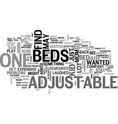 Adjustable beds text word cloud concept vector