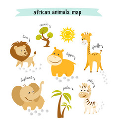 african animals map with trees and footprints vector image