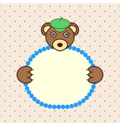 Bear holding banner card in paws birthday vector