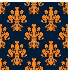 Blue and orange fleur-de-lis seamless pattern vector image vector image
