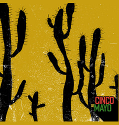 cactus background cinco de mayo holiday card vector image vector image