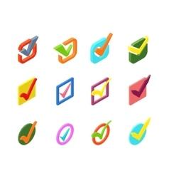 Check vote icon set vector image vector image