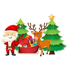 Christmas theme with santa and reindeer vector