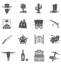 Cowboy icons set vector