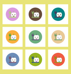flat icons halloween set of pumpkin and hand vector image vector image